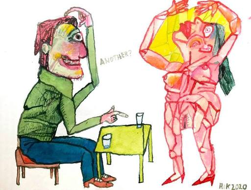 Rik VAN IERSEL - Dessin-Aquarelle - Corona journal drawings: The Question and the cubist model