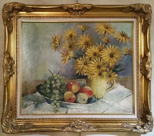 Emile Henry TILMANS - Painting - Nature morte aux raisins