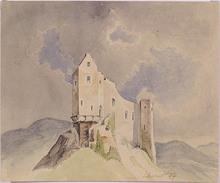 "Heinrich Carl SCHUBERT - Drawing-Watercolor - ""Alpine Castle Ruins"""
