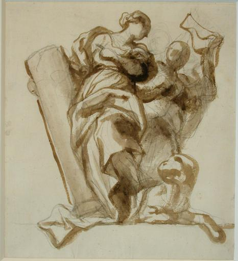 Domenico I PIOLA - Drawing-Watercolor - An allegory