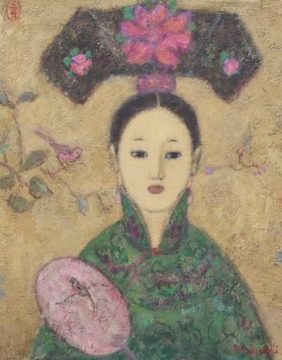 JIA Juanli - Painting - Femme à l'éventail