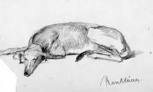 Mihály VON MUNKACSY - Drawing-Watercolor - Dog