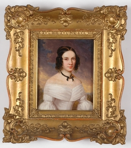 """Leopold FERTBAUER - Gemälde - """"Portrait of a Young Lady"""", ca. 1840, Oil on Ivory"""