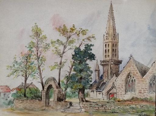Alfred KELLER - Dibujo Acuarela - Rumengol - Finistère - (KP33)
