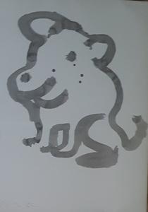 "Júlio POMAR - Zeichnung Aquarell - ""Sois pas bête"""
