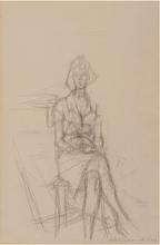 Alberto GIACOMETTI - Drawing-Watercolor - Jean Stein (assise)