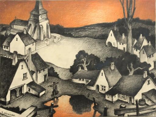 "Raymond DIERICKX - Drawing-Watercolor - ""VILLAGE AU CIEL MARRON"""