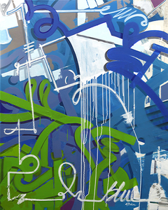 Ghazi BAKER - Painting - Blue in green