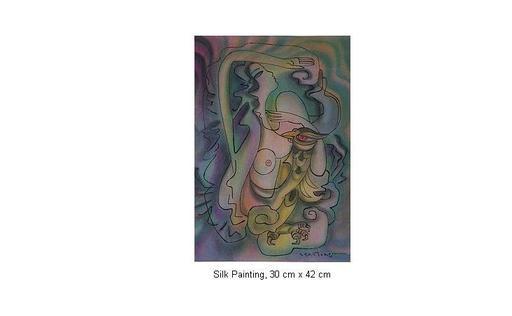 Mai LONG - Painting - Woman with Bird, Long 11