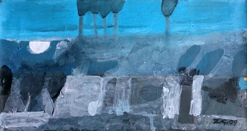 Zurab GIKASHVILI - Gemälde - Blue landscape