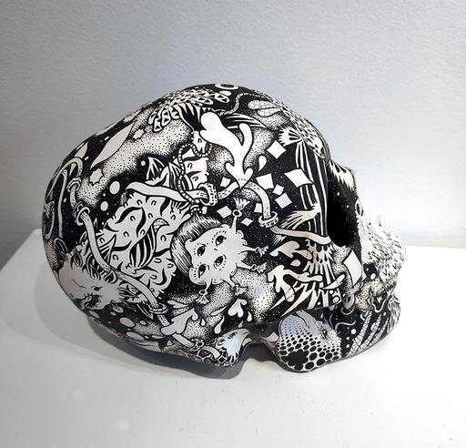 Claire FANJUL - Zeichnung Aquarell - Crâne aux poissons étranges