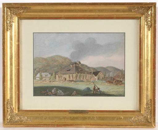 """Franz REINHOLD - Zeichnung Aquarell - Franz Reinhold (1799-1893) """"Furnace in Ginetz, Bohemia"""""""