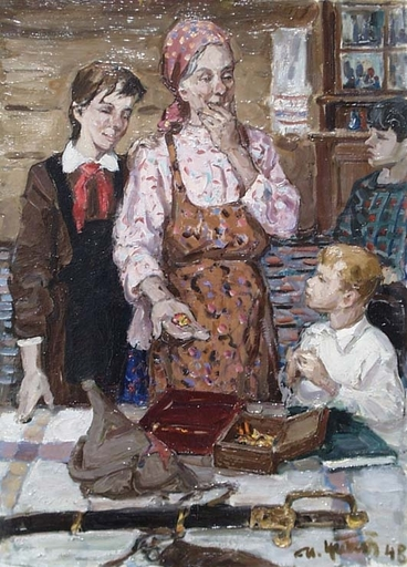 "Mikhail GRATCHEV - Painting - ""Story about Grandpa"", Oil Painting, 1948"
