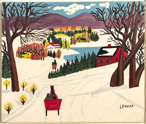 Maud LEWIS - Pintura - Winter Scene With Purple Mountains