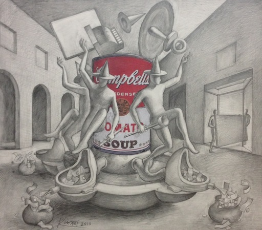 Mark KOSTABI - Dibujo Acuarela - Soup's on