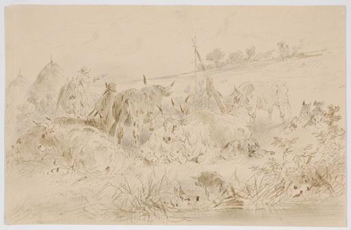 "Adolf WERNER - Drawing-Watercolor - ""At the pasture"" drawing"