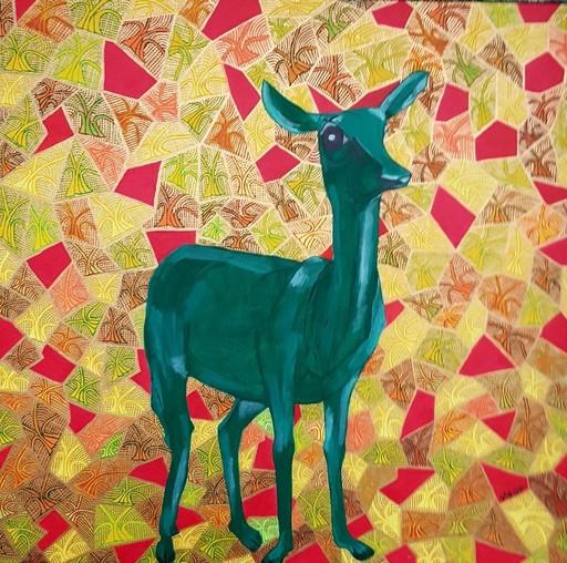 Annemarie HOFFMANN - Painting - Grünes Reh im Wald    (Cat N° 5836)