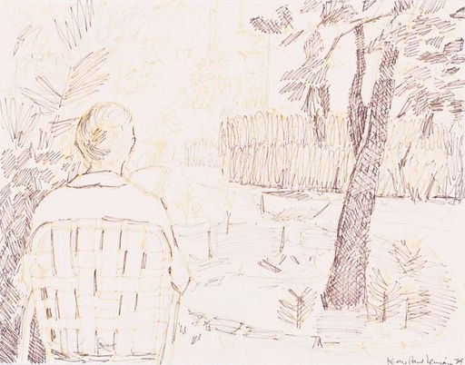 Jean-Paul LEMIEUX - Drawing-Watercolor - Jardin