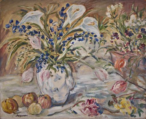 Arthur DEGNER - Pittura - Blumenstillleben mit Früchten