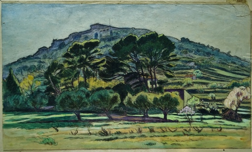Charles Victor GUILLOUX - Drawing-Watercolor - paysage Provençal