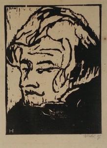 Erich HECKEL - Grabado - Kopf des Geigers