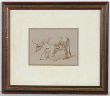 """Abraham TEERLINK - Drawing-Watercolor - """"Cow with calf"""", drawing, early 19th century"""