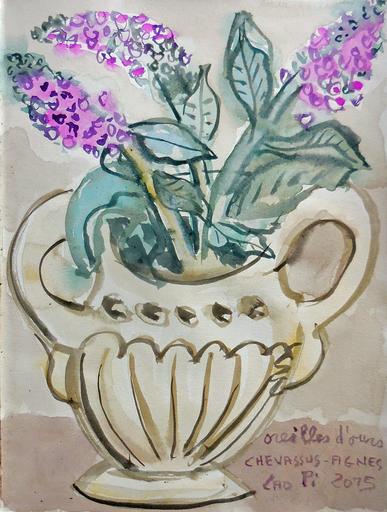 Jean-Pierre CHEVASSUS-AGNES - Drawing-Watercolor - bouquet de fleurs d'oreille d'ours de mon jardin