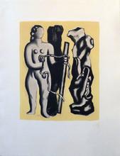 费尔南‧雷杰 - 版画 - Femme sur fond jaune