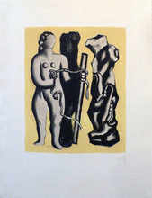 Fernand LÉGER - Estampe-Multiple - Femme sur fond jaune