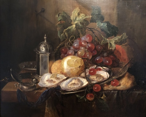 Simon GLÜCKLICH - Pintura - Stilleben mit Austern Und Zinnutensilien