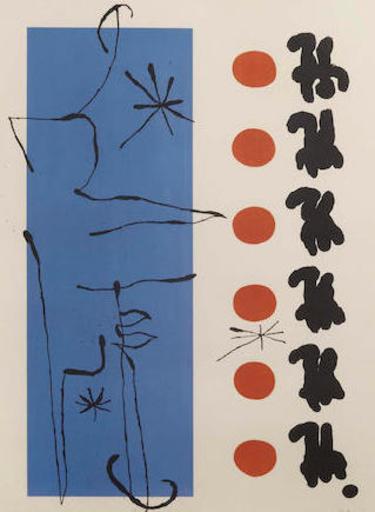 胡安·米罗 - 版画 - Rouge et Bleu