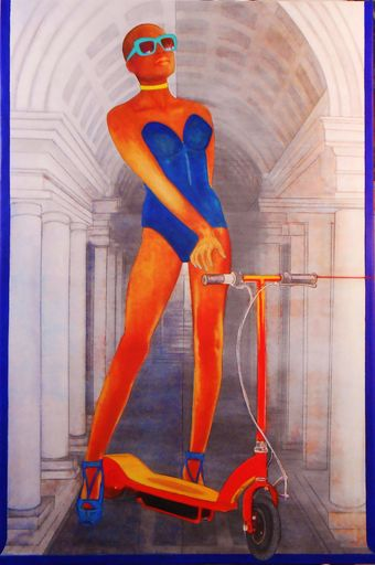 Christian SATIN - Pittura - a girl and a scooter in front of a paper image     (Cat N° 6