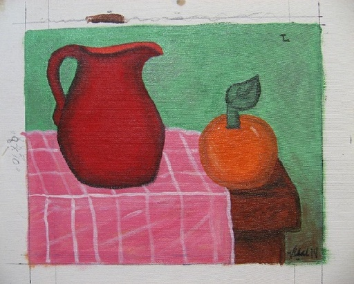 Francisco VIDAL - Peinture - Red Pitcher with Orange