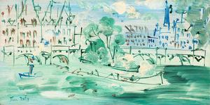 Jean DUFY - Peinture - Paris, le Pont-Neuf