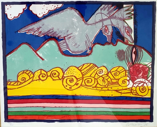 CORNEILLE - Druckgrafik-Multiple - Femme et oiseau, (Leda), 1976