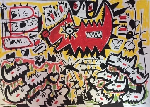 François NASICA - Drawing-Watercolor - DOG DOG DOG FIRST