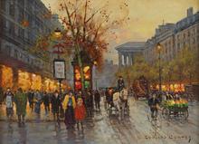 Édouard CORTES - Painting - Boulevard de la Madeleine,1950's