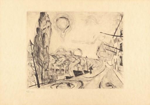 Max BECKMANN - Stampa-Multiplo - Landschaft mit Ballon
