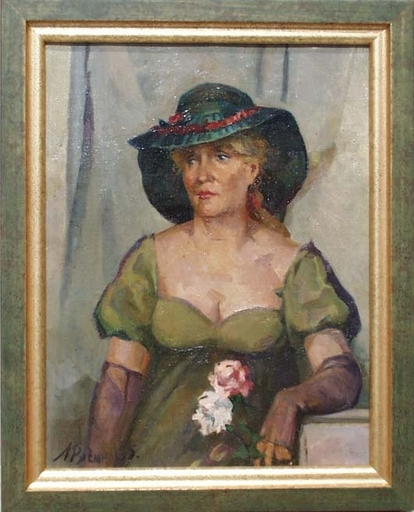 """Arkadi RUSIN - Gemälde - """"Portrait of an Actress"""", Oil Painting by Arkadi Rusin, 1965"""