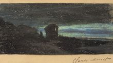 Claude MONET - Dibujo Acuarela - Yport la nuit