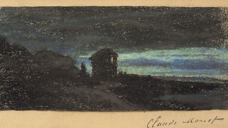 Claude MONET - Drawing-Watercolor - Yport la nuit