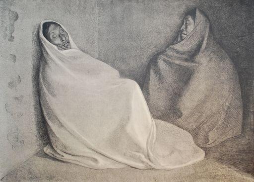Francisco ZUÑIGA - Grabado - Dos Mujeres Sentada