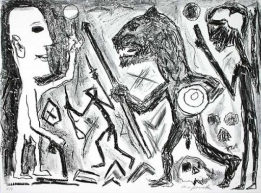 A.R. PENCK - Estampe-Multiple - Homer u. Aristoteles, 1 Blatt