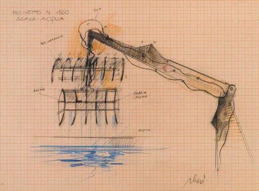 Fabrizio PLESSI - Dibujo Acuarela - Progetto n. 160. Scava-acqua