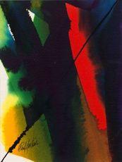 Paul JENKINS - Drawing-Watercolor - Phenomena Red Rover