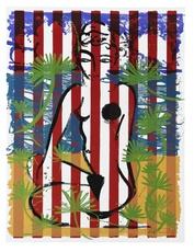 Stefan SZCZESNY - Grabado - Nude on Red Stripes