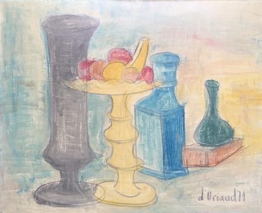 Christian DURIAUD - Pintura - Nature morte au vase en étain