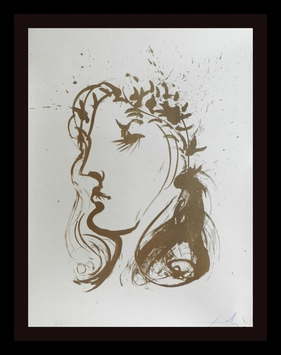 Salvador DALI - Grabado - Dante and Beatrice Beatrice