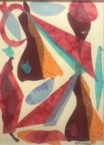 Cristino MALLO GONZALEZ - Disegno Acquarello - FIGURA CON PEZ