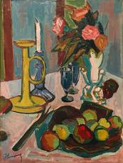 Roger Marcel LIMOUSE - Peinture - Nature Morte avec Fleurs, Fruits ou Bougie